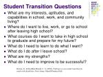 student transition questions