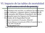 vi impacto de las tablas de mortalidad en el costo y nivel de pensi n