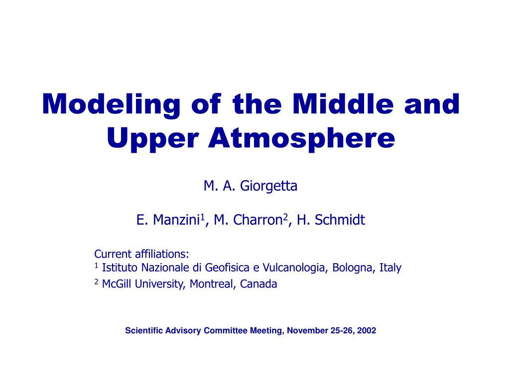modeling of the middle and upper atmosphere l.