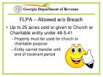 flpa allowed w o breach
