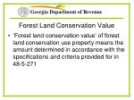 forest land conservation value
