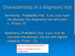 characteristics of a diagnostic test