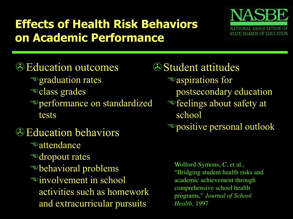 Effects of Health Risk Behaviors on Academic Performance