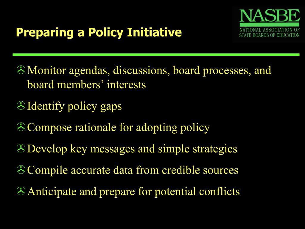 Preparing a Policy Initiative