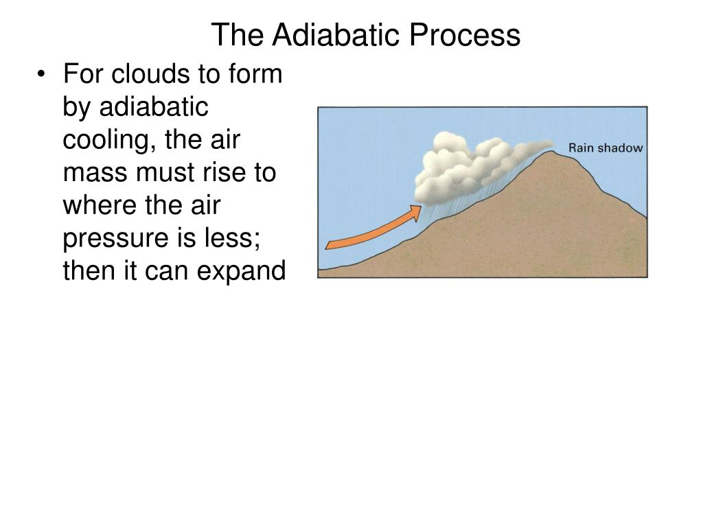 For clouds to form by adiabatic cooling, the air mass must rise to where the air pressure is less; then it can expand