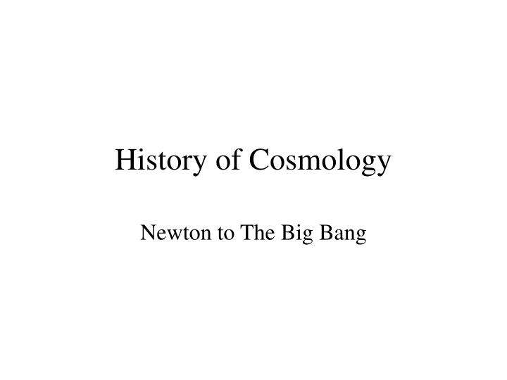 history of cosmology n.