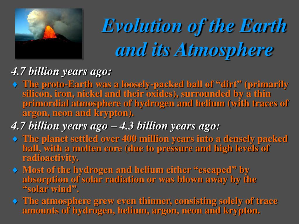 evolution of the earth and its atmosphere l.
