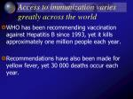 access to immunization varies greatly across the world19