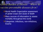 global burden of disease where do vaccine preventable diseases fit in