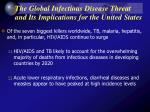 the global infectious disease threat and its implications for the united states