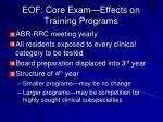 eof core exam effects on training programs