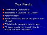 orals results