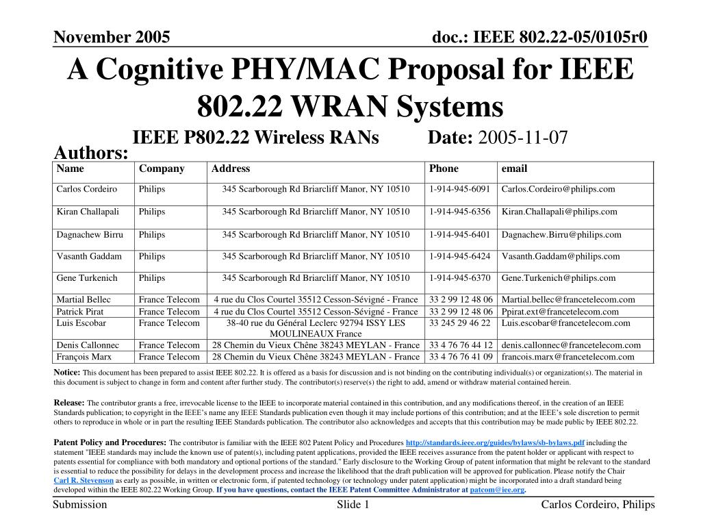 a cognitive phy mac proposal for ieee 802 22 wran systems l.