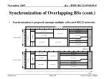 synchronization of overlapping bss cont