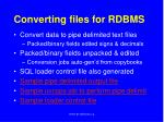converting files for rdbms