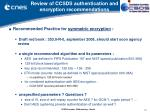 review of ccsds authentication and encryption recommendations