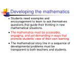 developing the mathematics