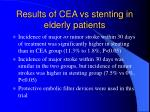 results of cea vs stenting in elderly patients