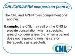 cnl cns aprn comparison cont d