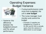 operating expenses budget variance