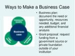 ways to make a business case