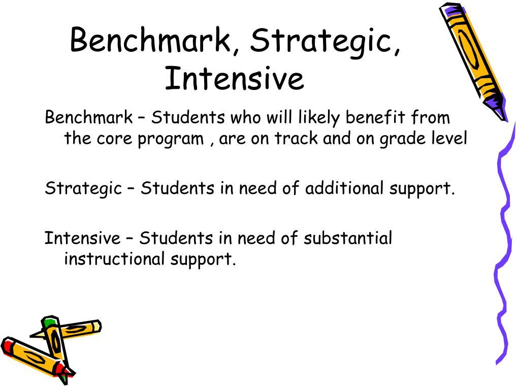 Benchmark, Strategic, Intensive
