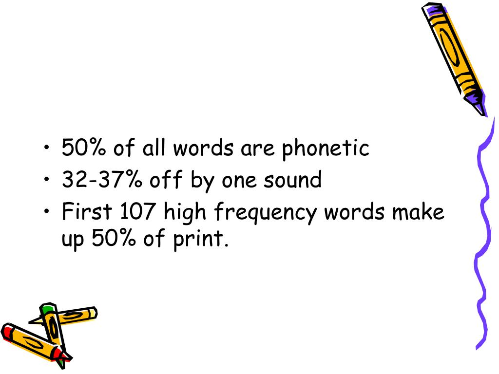 50% of all words are phonetic