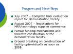 progress and next steps