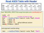 read ascii table with header