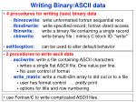 writing binary ascii data