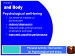 physical activity intervention for psychological well being