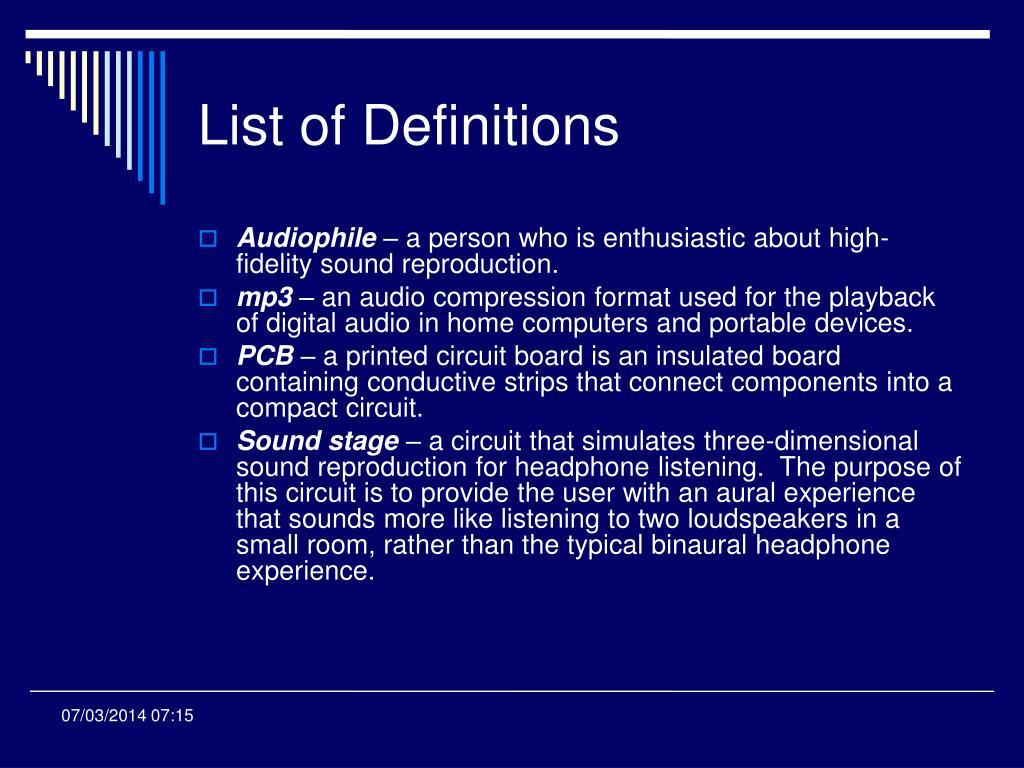 List of Definitions