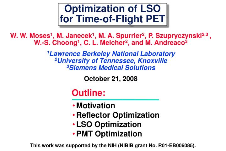 optimization of lso for time of flight pet n.