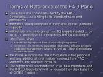 terms of reference of the fao panel