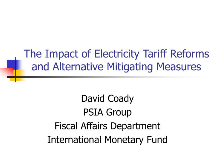 the impact of electricity tariff reforms and alternative mitigating measures n.