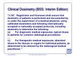 clinical dosimetry bss interim edition