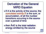 derivation of the general mird equation173