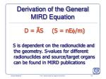 derivation of the general mird equation175