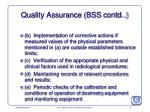 quality assurance bss contd