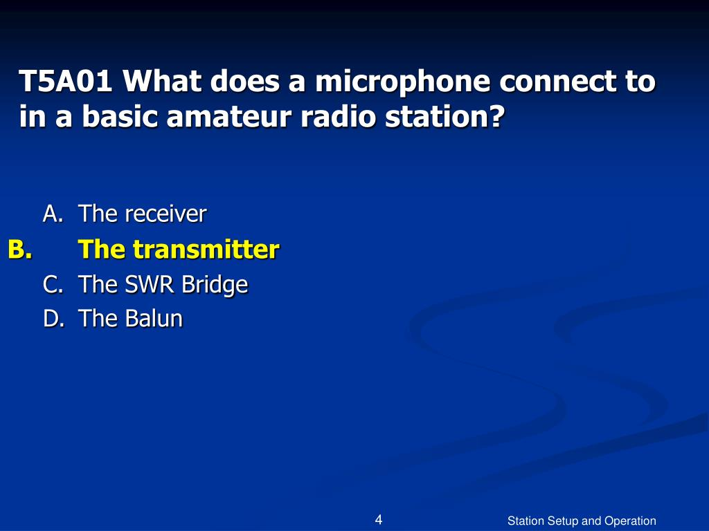 T5A01 What does a microphone connect to in a basic amateur radio station?