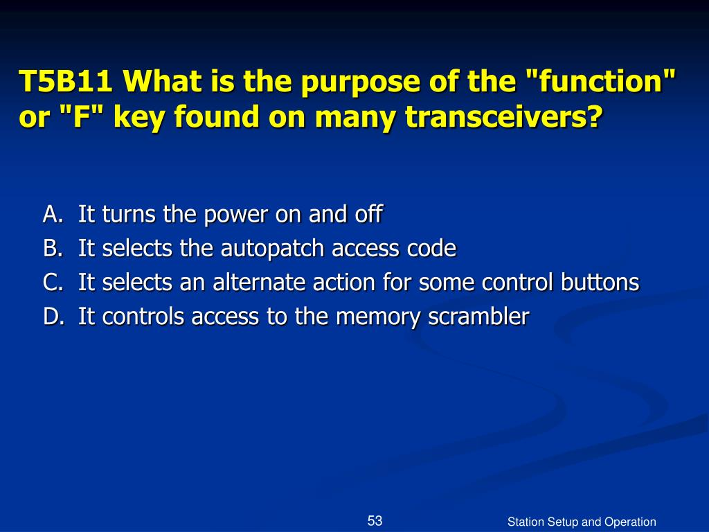 """T5B11 What is the purpose of the """"function"""" or """"F"""" key found on many transceivers?"""
