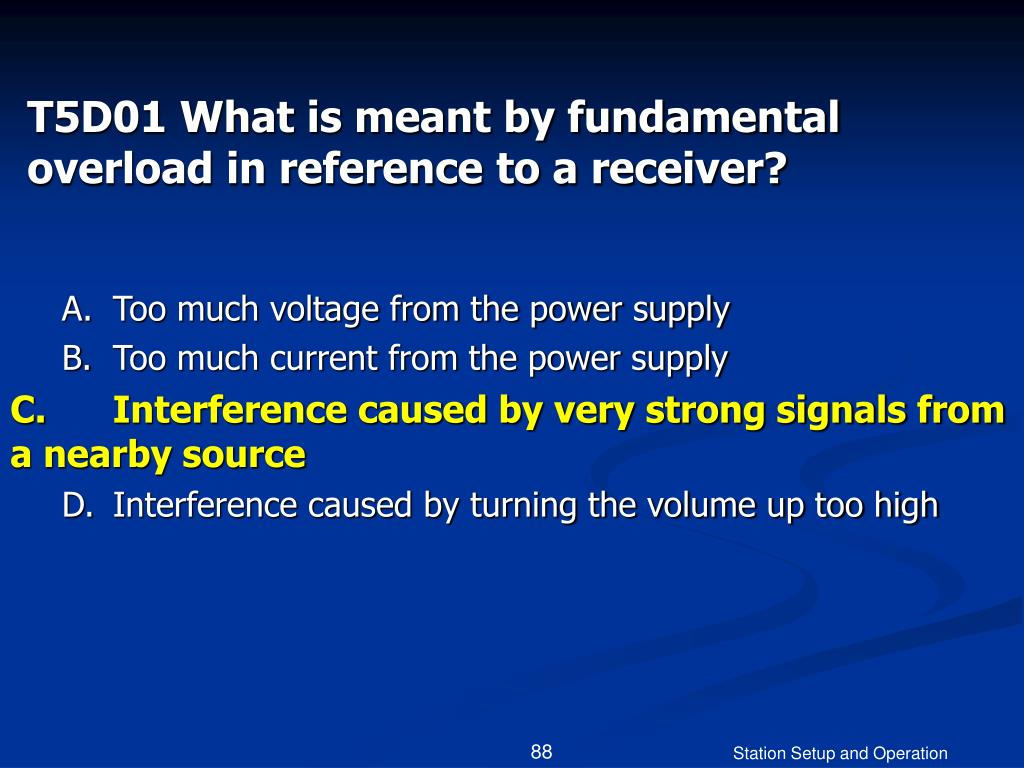 T5D01 What is meant by fundamental overload in reference to a receiver?