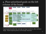 4 place prioritized goals on the left column of the board