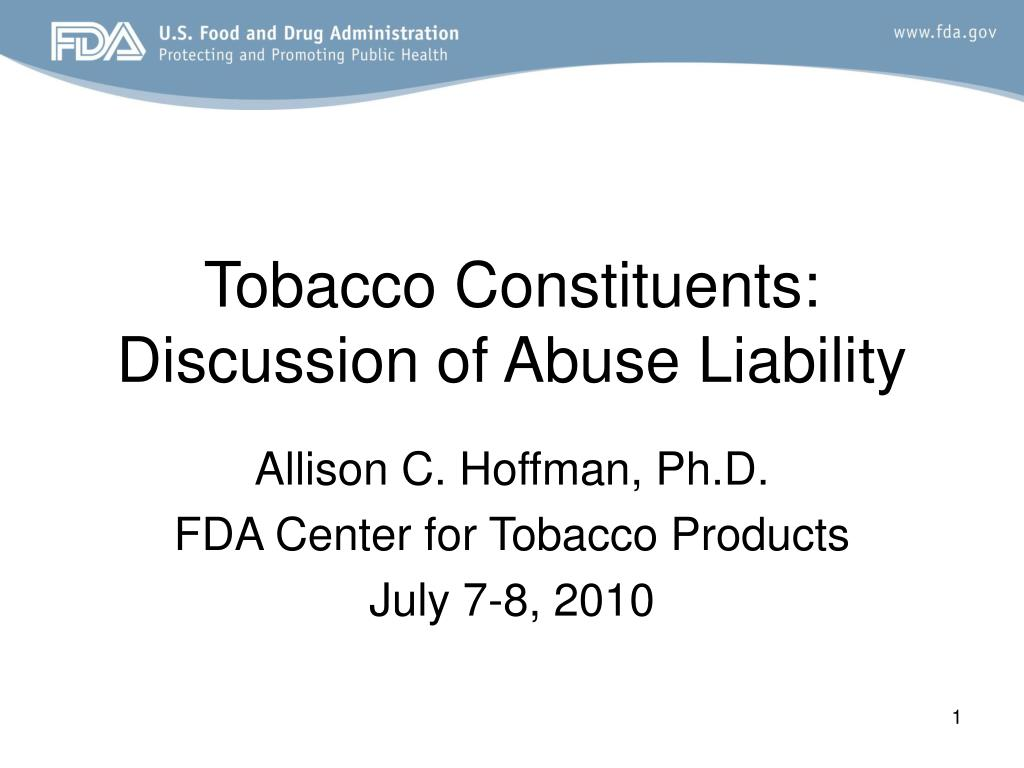tobacco constituents discussion of abuse liability l.