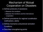 mechanism of mutual cooperation on disasters