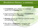 breakdown fluency a summary