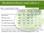 breakdown fluency main effects 1