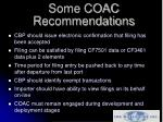 some coac recommendations