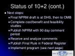 status of 10 2 cont