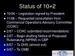 status of 10 2